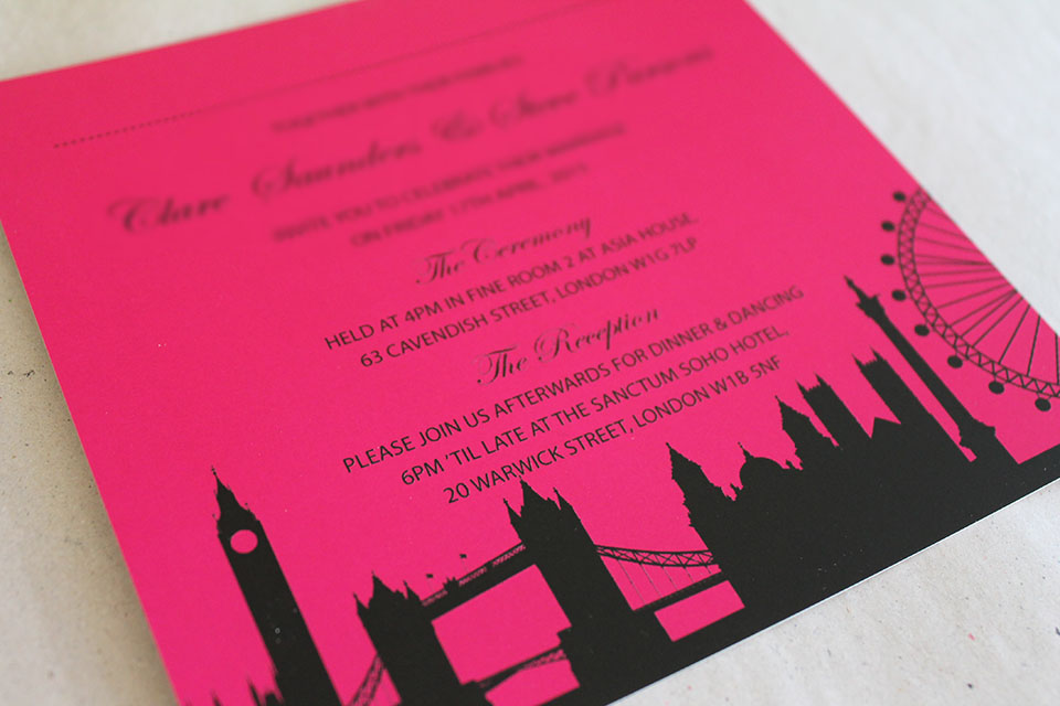 Bespoke London themed wedding invitations